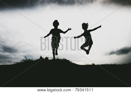 Kids jumping from a cliff