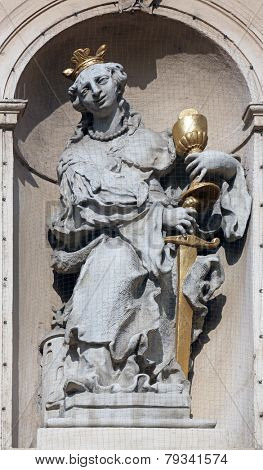 VIENNA, AUSTRIA - OCTOBER 10: Saint Barbara on baroque Jesuits church. The church was built between 1623 and 1627. in Vienna, Austria on October 10, 2014.