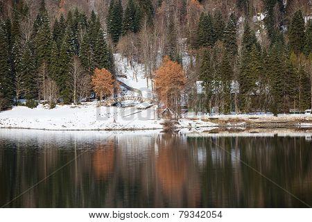 Mountain Lake in Winter Season