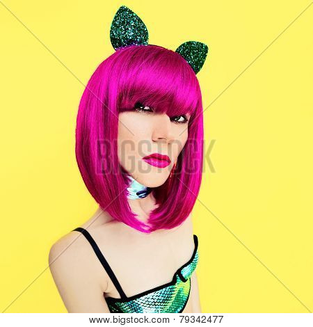 Pussycat Lady On Yellow Background Glamorous Party Style