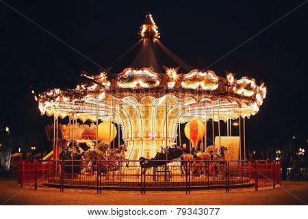 Beautiful Bright Carousel At Black Night