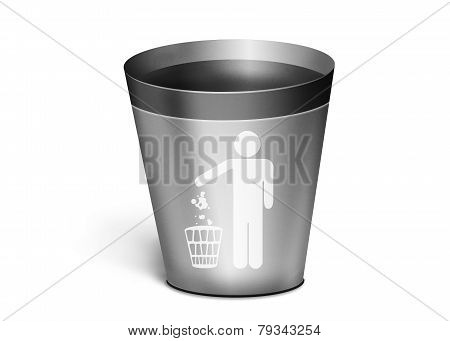 Simple Metal Trash Bin On A White Background