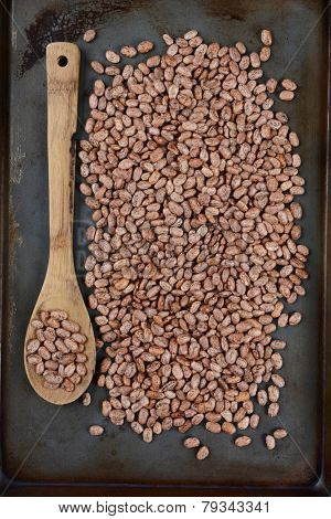 High angle shot of pinto beans and a wooden spoon on a used metal baking sheet. Vertical Format.