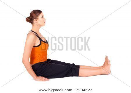 Woman Practicing Staff Pose Yoga Asana