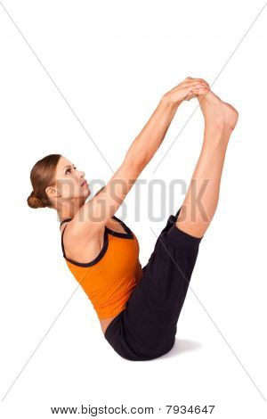 Woman Doing Both Big Toes Yoga Exercise