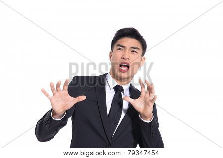 Businessman scared and afraid of something