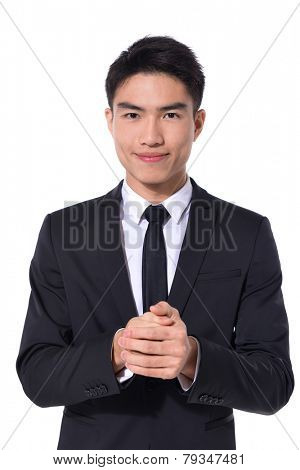 young business man portrait isolated on white background
