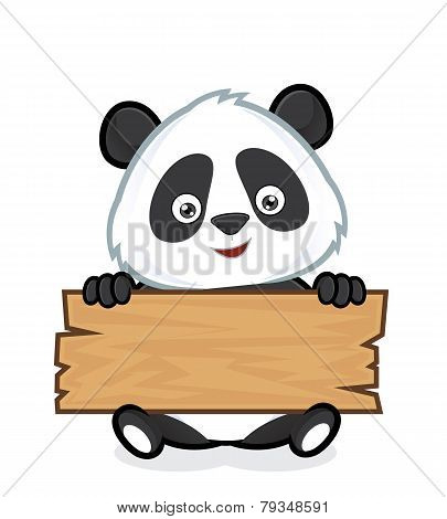 Panda holding a plank of wood