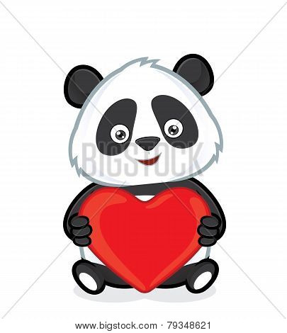 Panda holding heart love