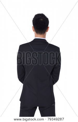 Back view of young business man.