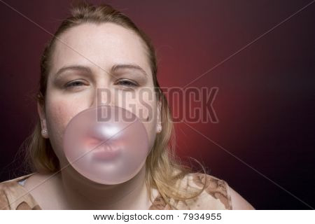 Women Blowing Big Bubble