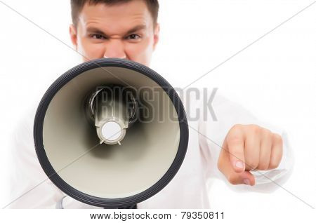 Angry business man screaming and shouting with a megaphone