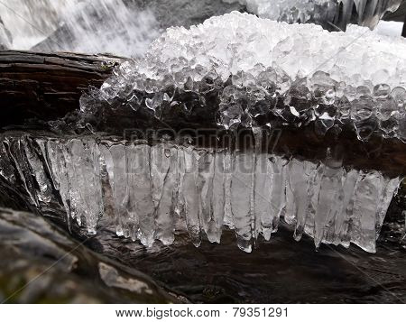 Icicles Over A Stream