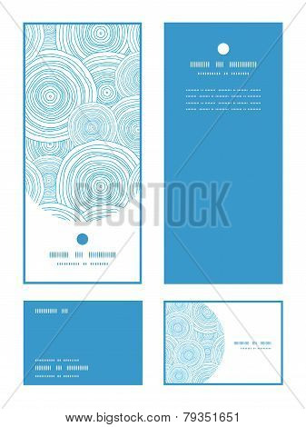 Vector doodle circle water texture vertical frame pattern invitation greeting, RSVP and thank you ca