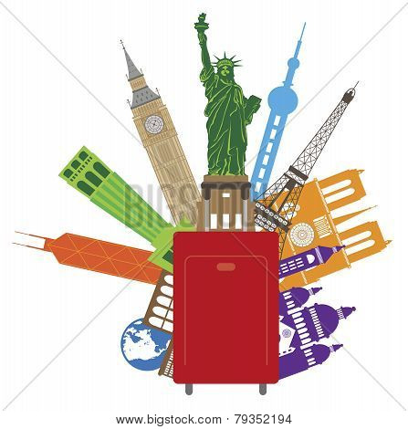 Luggage For World Travel Color Illustration