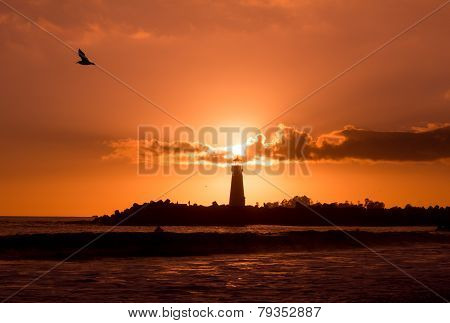 Walton Lighthouse During Sunset