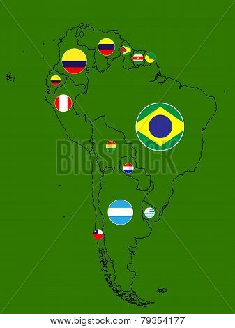 South America Map Circles