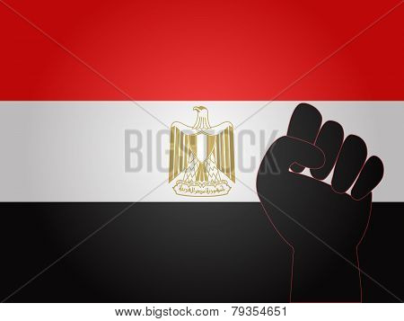 Egyptian Flag With Protest Sign