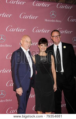 LOS ANGELES - JAN 3:  Patrick Stewart, Carla Gugino, Matthew Lillard at the Palm Springs Film Festival Gala at a Convention Center on January 3, 2014 in Palm Springs, CA