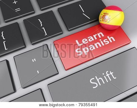 3d Learn spanish on computer keyboard. Education concept