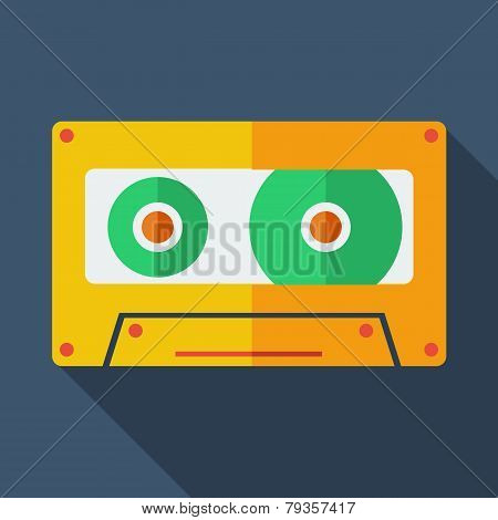 Modern flat design concept icon. Tape recorder. Vector illustrat