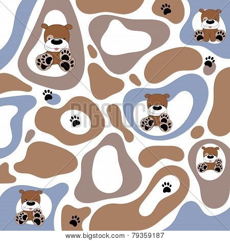 Abstract Texture With Cartoon Puppy