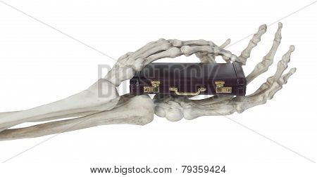 Skeleton Hands Holding Briefcase