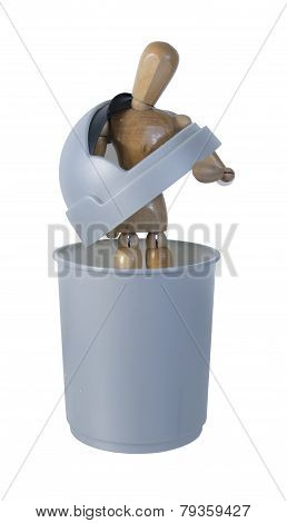 Person In Garbage Container Feeling Worthless