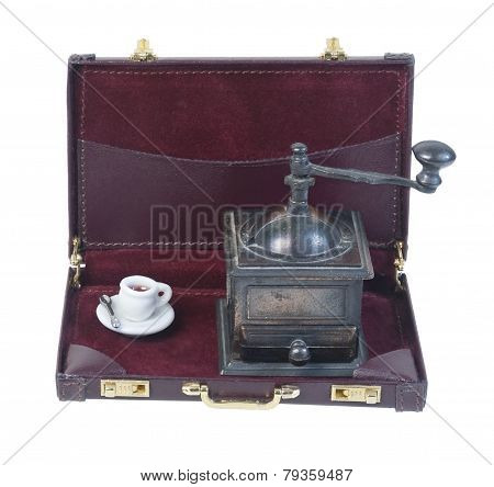 Coffee Grinder And Cup In A Briefcase