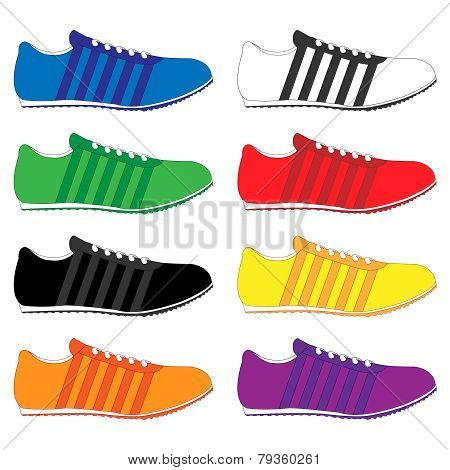 Running Shoes With Stripes In Different Colours