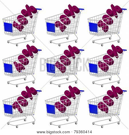 Blue 3D Shopping Cart With Discount Texts