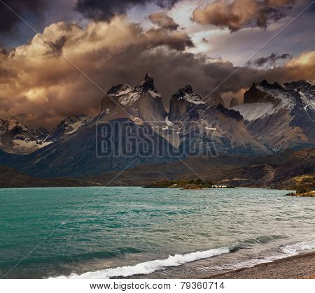 Sunset in Torres del Paine National Park, Lake Pehoe and Cuernos mountains, Patagonia, Chile
