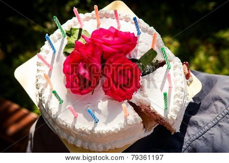 White Creamy Delicious Cake With Candles