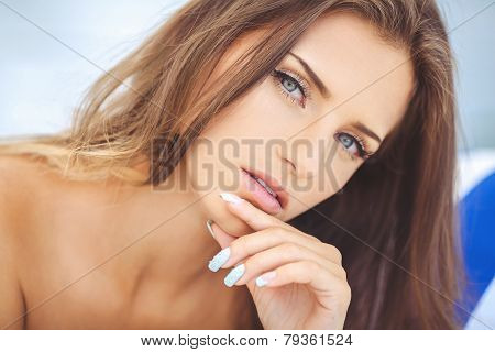 Closeup portrait of a beautiful woman.
