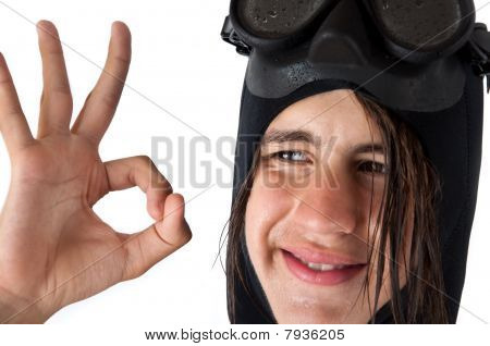 Teenager Diver Showing Ok
