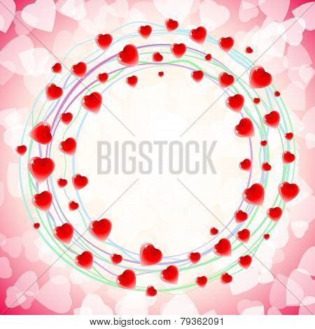 Heart Love Round Circular Swirl Around Background Red