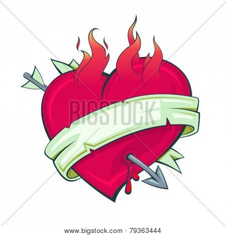 Burning heart with arrow and ribbon, tattoo style.