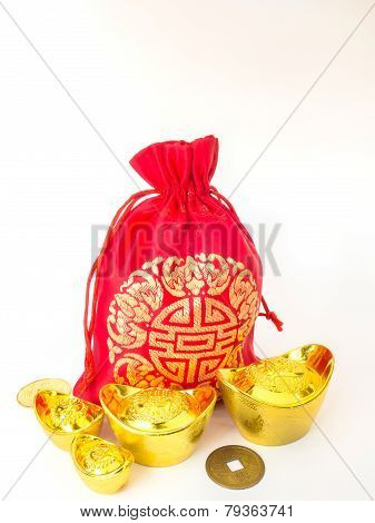 Red Silky Money Bag With Money : Lucky Pouch