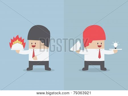 Businessman Holding Tray With Fire And Light Bulb Of Idea, Hot Deal And Idea Concept