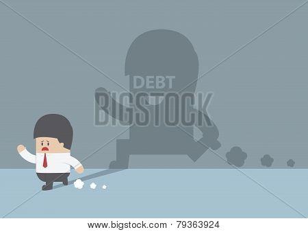 Businessman Followed By Debt Shadow