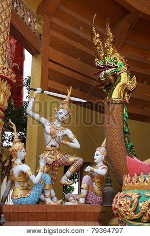 Thai Angles Sword Dance With Naga Statue
