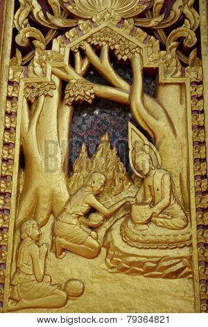 Wood Carving Thai Buddha Story Art