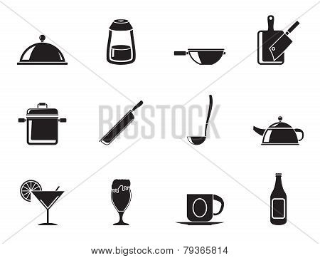Silhouette Restaurant, cafe, food and drink icons