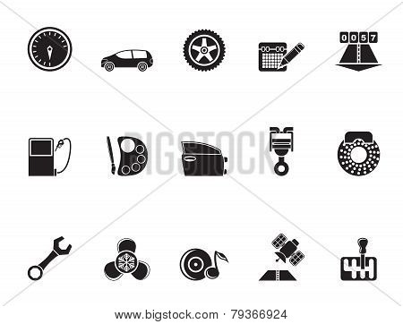Silhouette car parts, services and characteristics icons