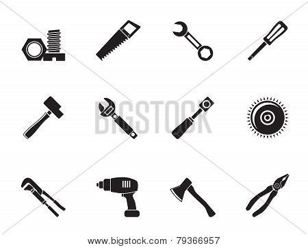 Silhouette different kind of tools icons