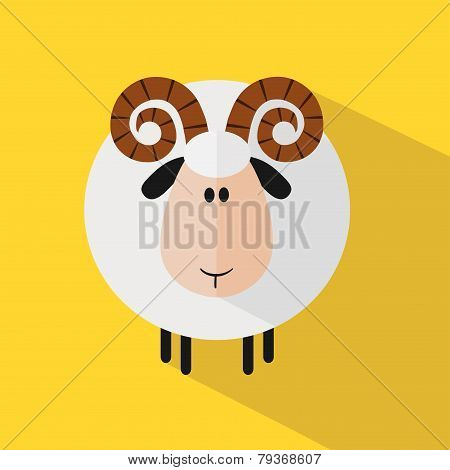Funny Ram Sheep.Modern Flat Design