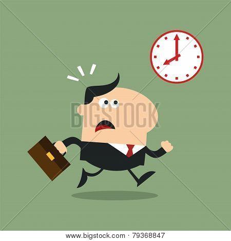 Panic Manager Running Past A Clock Modern Flat Design