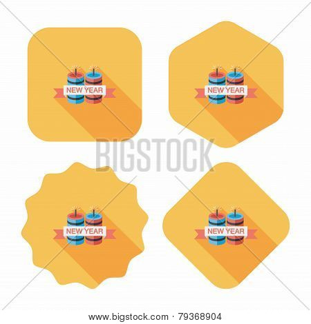 Chinese Festival Couplets With Lantern Flat Icon With Long Shadow,eps10