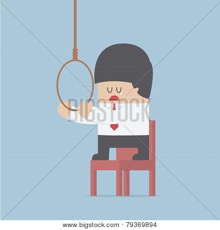 Businessman Thinking To Suicide With Hanging Rope