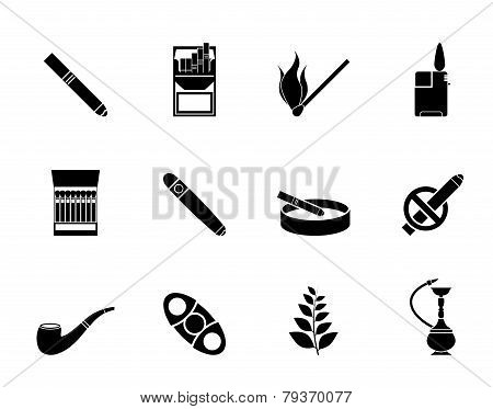 Silhouette Smoking and cigarette icons